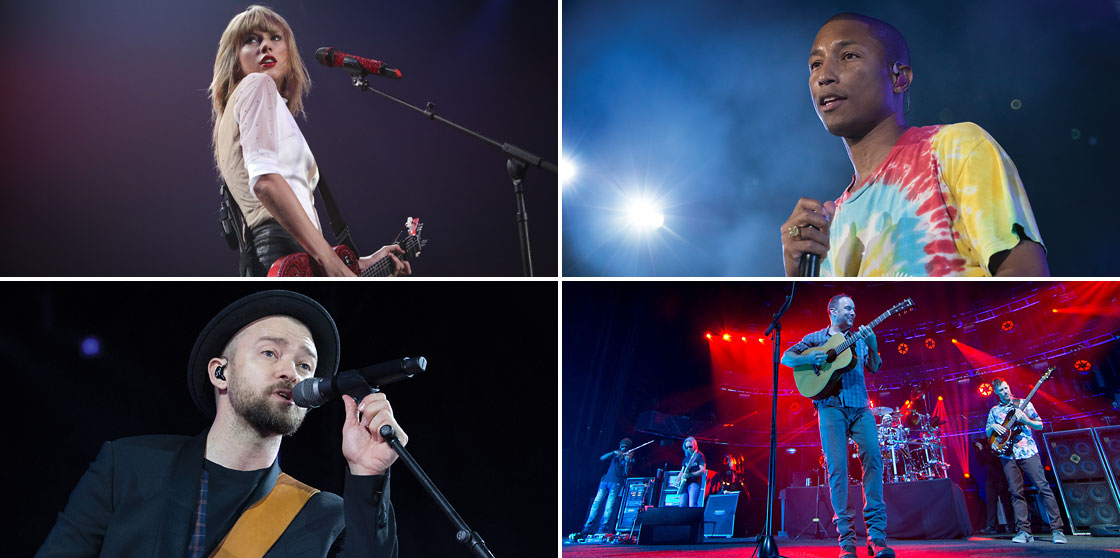 Taylor Swift, Pharrell Williams, Dave Matthews and Justin Timberlake