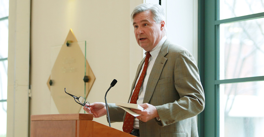 The courts may be an avenue to regain traction on climate change, U.S. Sen. Sheldon Whitehouse '82 said in April at the Law School during the annual Lillian K. Stone Distinguished Lecture.
