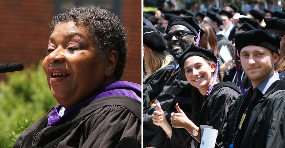 Commencement speaker Linda Howard '73, vice president for legal at Landmark Worldwide, told the graduating Class of 2019 that standing for something is a powerful approach to life.