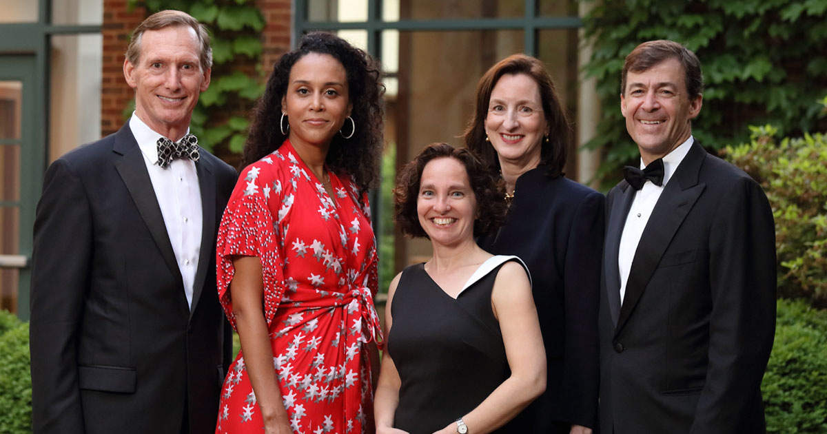 J. Warren Gorrell Jr. '79, Dasha Smith '98, Catherine M. Keating '87 and David C. Burke '93, pictured with Dean Risa Goluboff