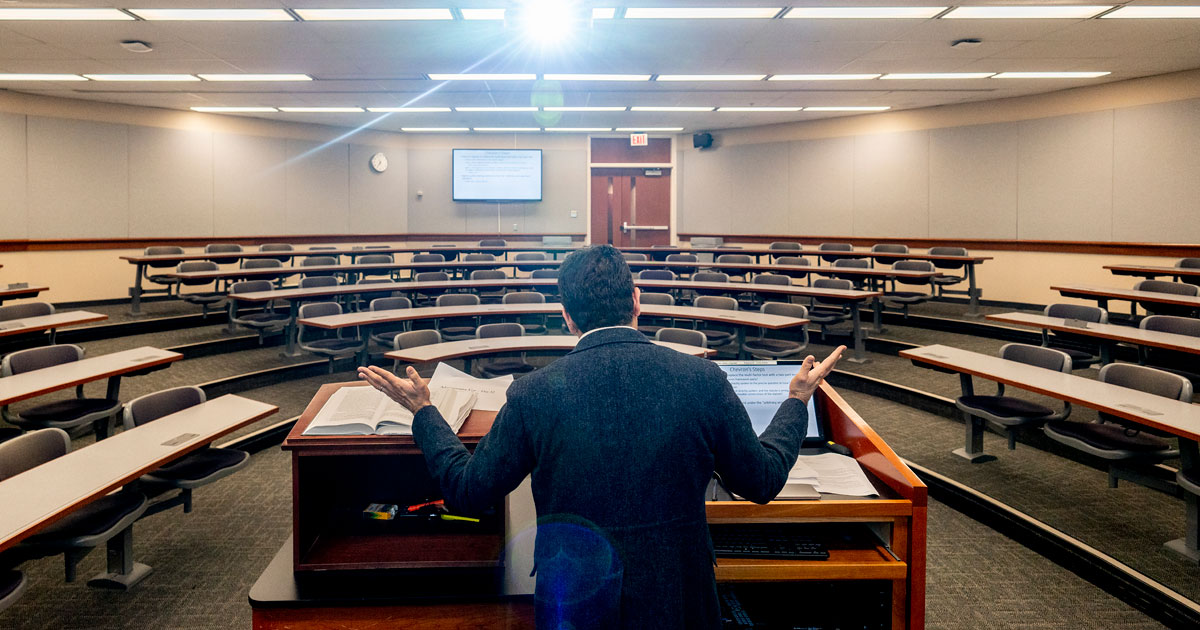 Professor Aditya Bamzai in an empty classroom