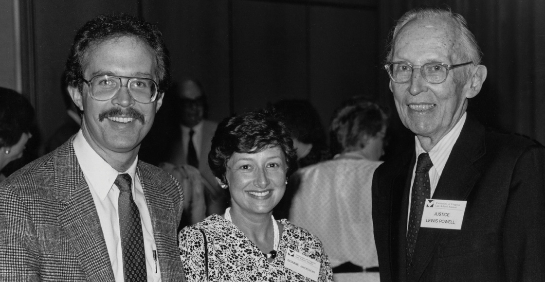 Dean Thomas A. Jackson, Bonnie Jackson and U.S. Supreme Court Justice Lewis F. Powell Jr. at a UVA Law alumni event, circa 1989.