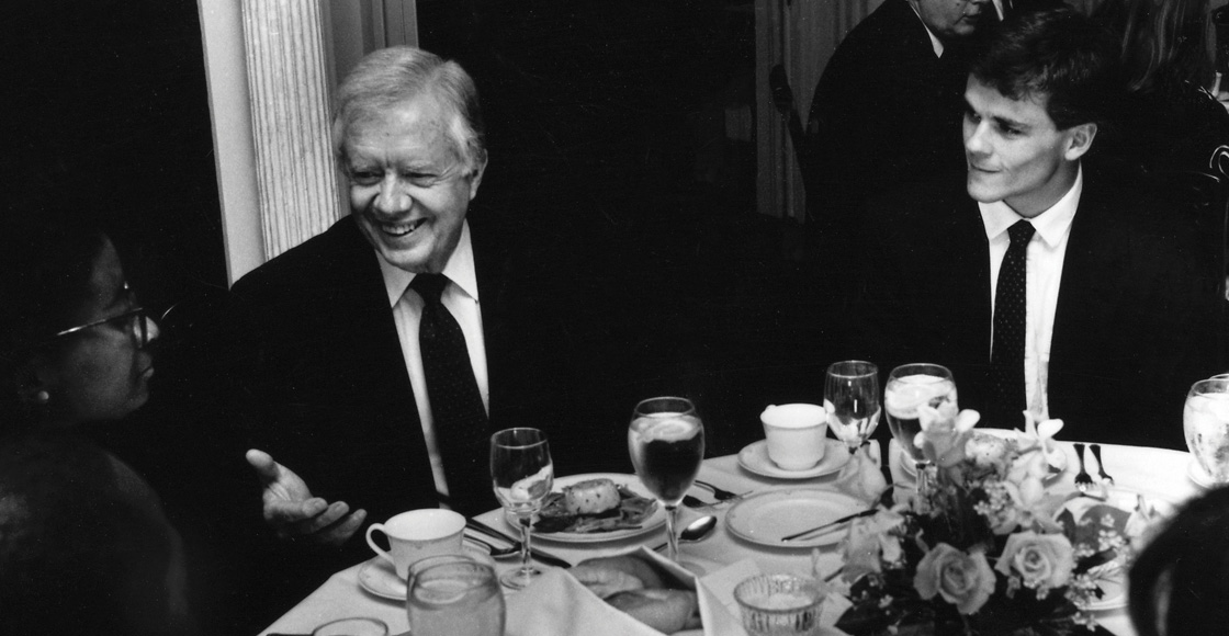 In 1991, then-law student Jim Ryan '92, now president of UVA, meets former President Jimmy Carter at the inaugural Dillard Scholars' Lecture.