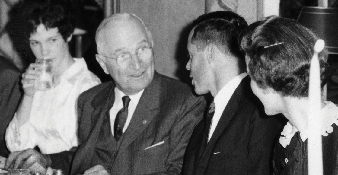 Former President Harry Truman speaks at the Student Legal Forum banquet in May 1960.