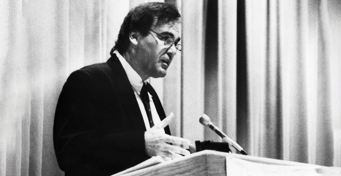 "Academy Award-winning writer and director Oliver Stone lectures on ""Culture in America in the Twentieth Century"" at a Student Legal Forum event in 1993."