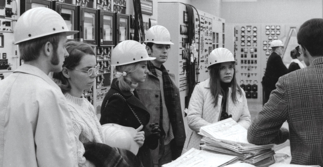 Students from the Legal Environment Group, a precursor to the Virginia Environmental Law Forum, tour the nuclear Surry Power Station in Virginia in 1971.