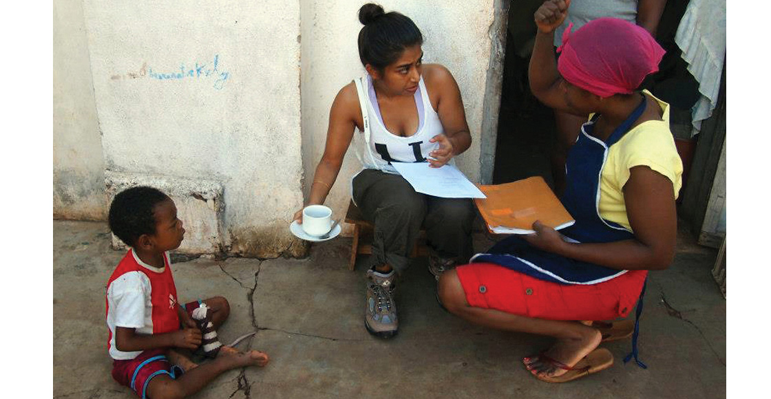 Sabrina Talukder '14 (left) interviews a hotel owner about her personal experience with sex trafficking during a 2013 Human Rights Study Project trip to Madagascar.