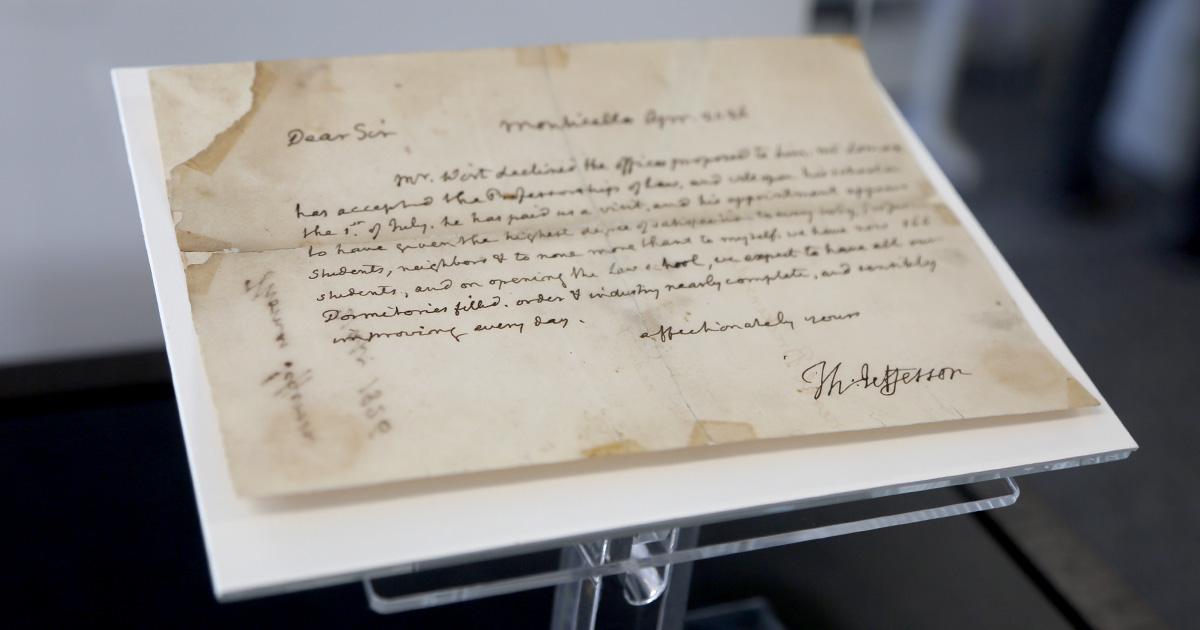 A letter written by Thomas Jefferson about the hiring of the first UVA law professor was installed at the Arthur J. Morris Law Library in September.