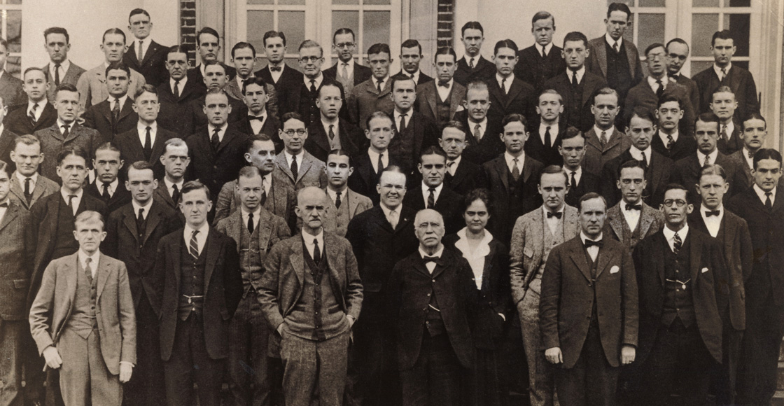 Elizabeth N. Tompkins '23 (bottom row, center), the first woman to graduate from the Law School, is pictured with her class in 1923.