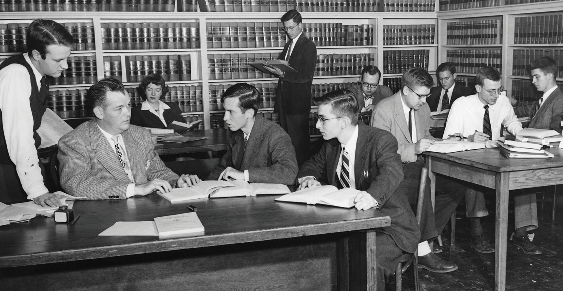 "Margaret G. ""Peggy"" Seiler '51 (back row) was the first female board member of the Virginia Law Review, pictured in 1951."