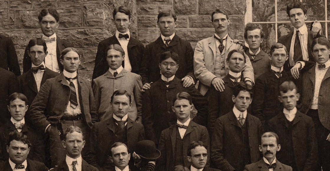 Hiraoaka Ryosuke of Hakate, Japan (second row, center), studied law with the Class of 1900, along with W.W. Yen (not pictured), UVA's first Chinese graduate.