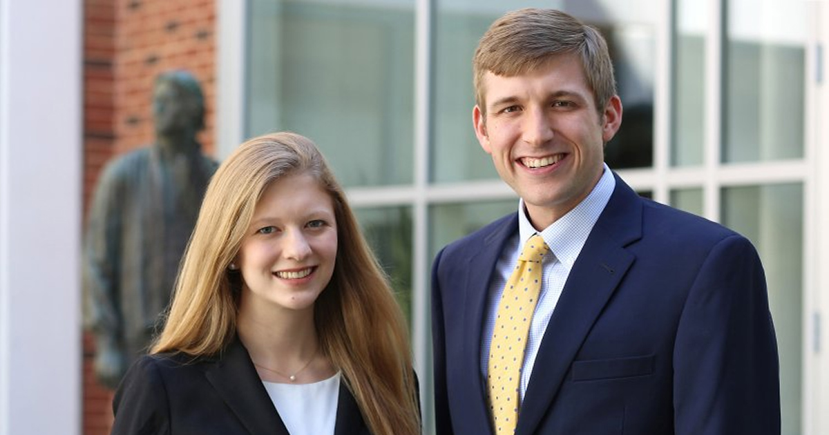 Megan Mers '20 and Henry Dickman '20 won the 91st William Minor Lile Moot Court Competition in October.