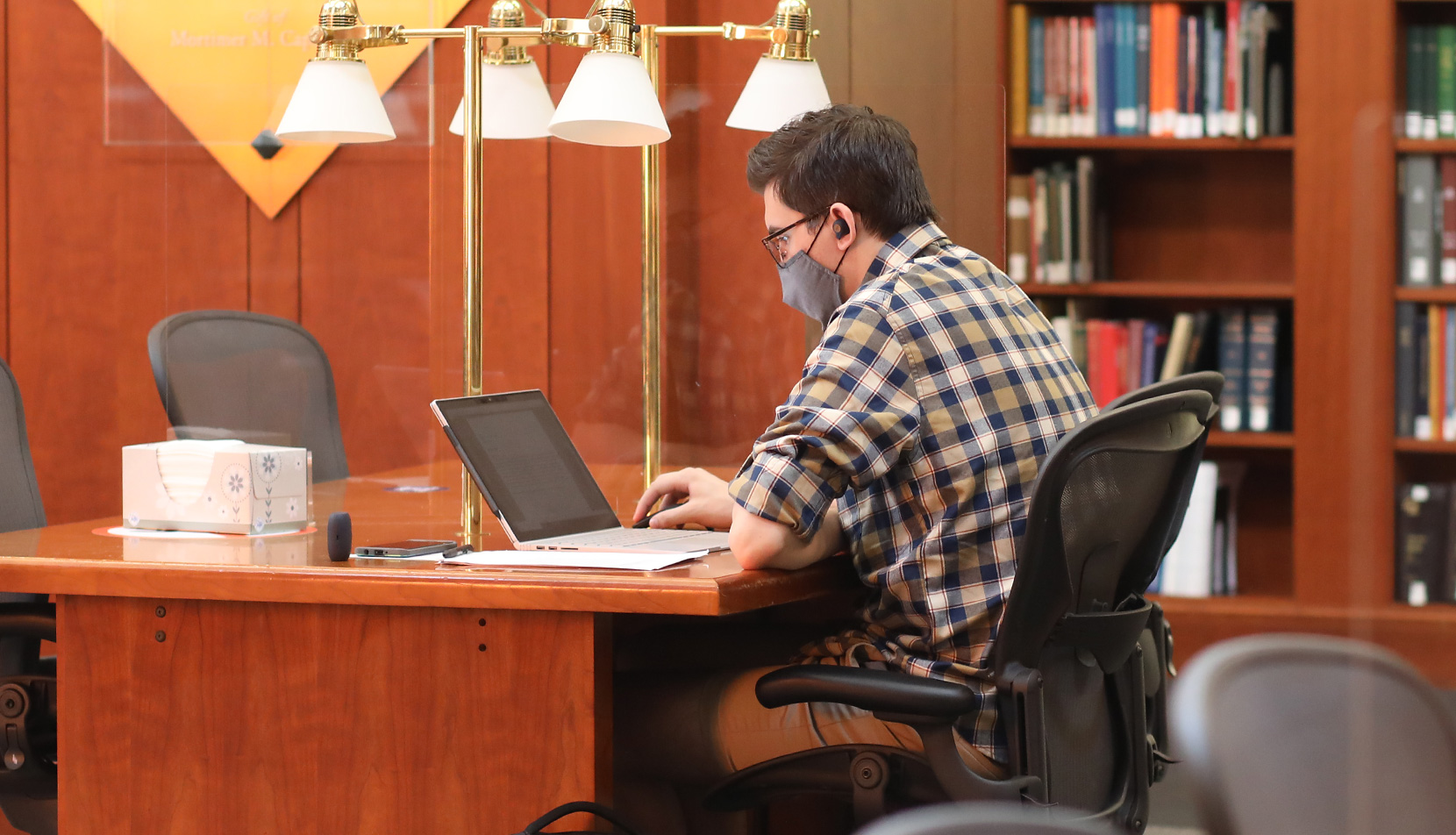 Law student studying in the library
