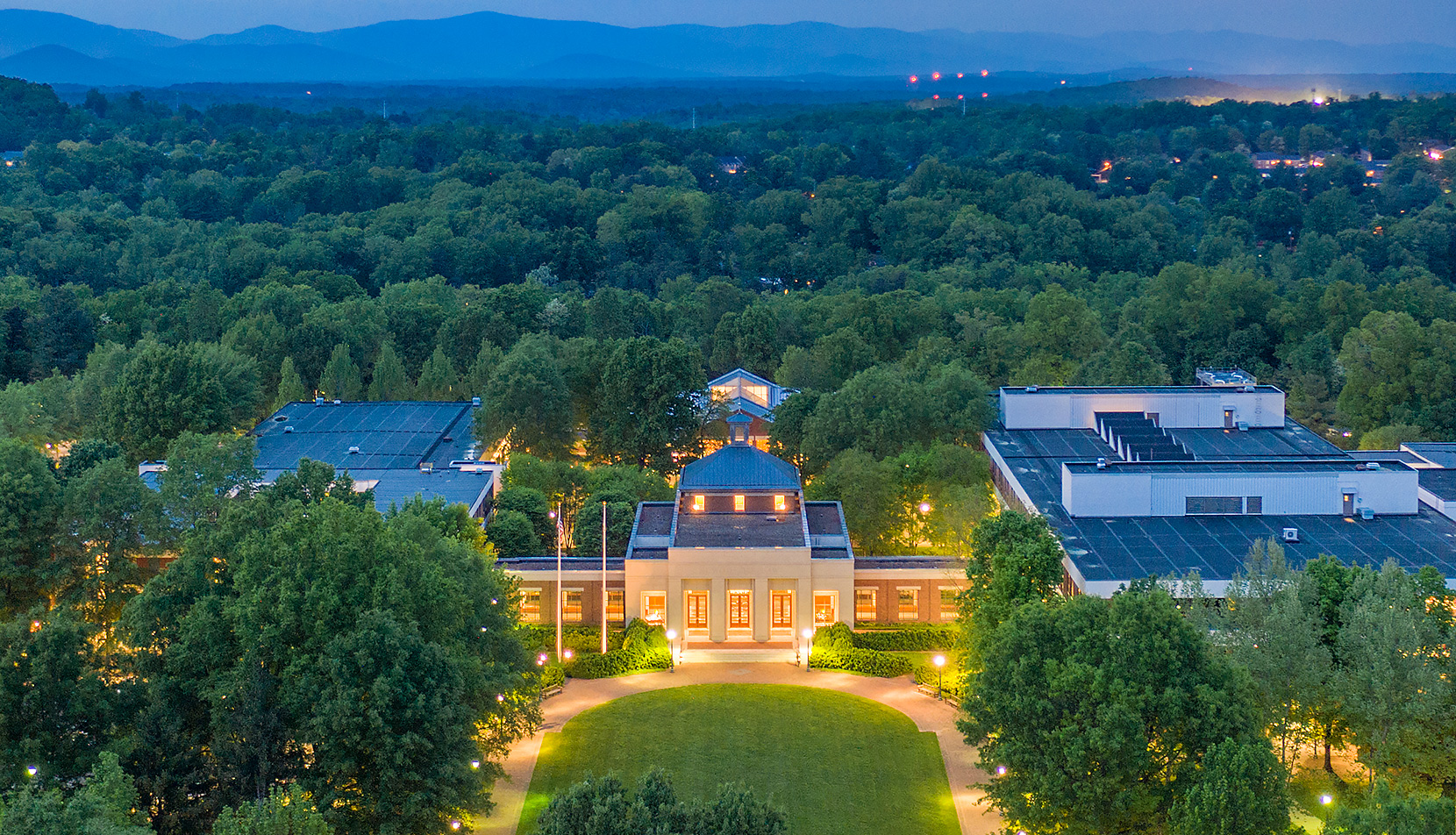Aerial view of UVA Law