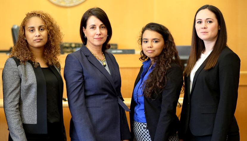 Nel-Sylvia Guzman, attorney Rhonda Quagliana '95, Jordin Dickerson and Maria Downham