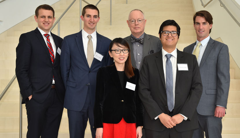 Thomas Kinzinger '18, Karl M. F. Lockhart '18, Hsin-Hsuan Lin (S.J.D.), UVA Law professor Paul Stephan '77, Mauricio Guim (S.J.D.) and William Phalen '18