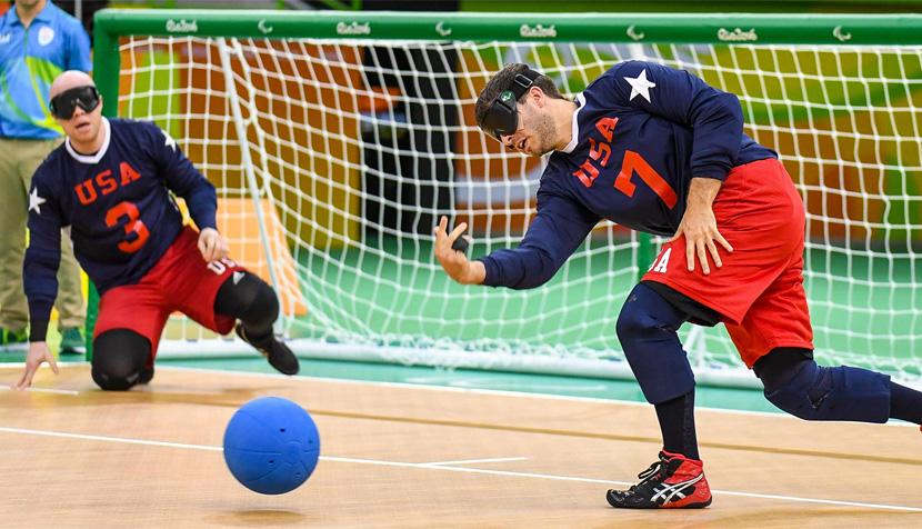 Matt Simpson playing goalball