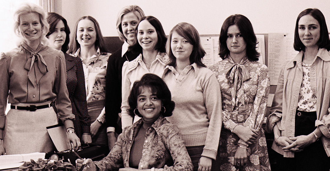 Admissions Director Carole Spears (seated) poses with the staff of the Law School Admissions Office, circa 1976.