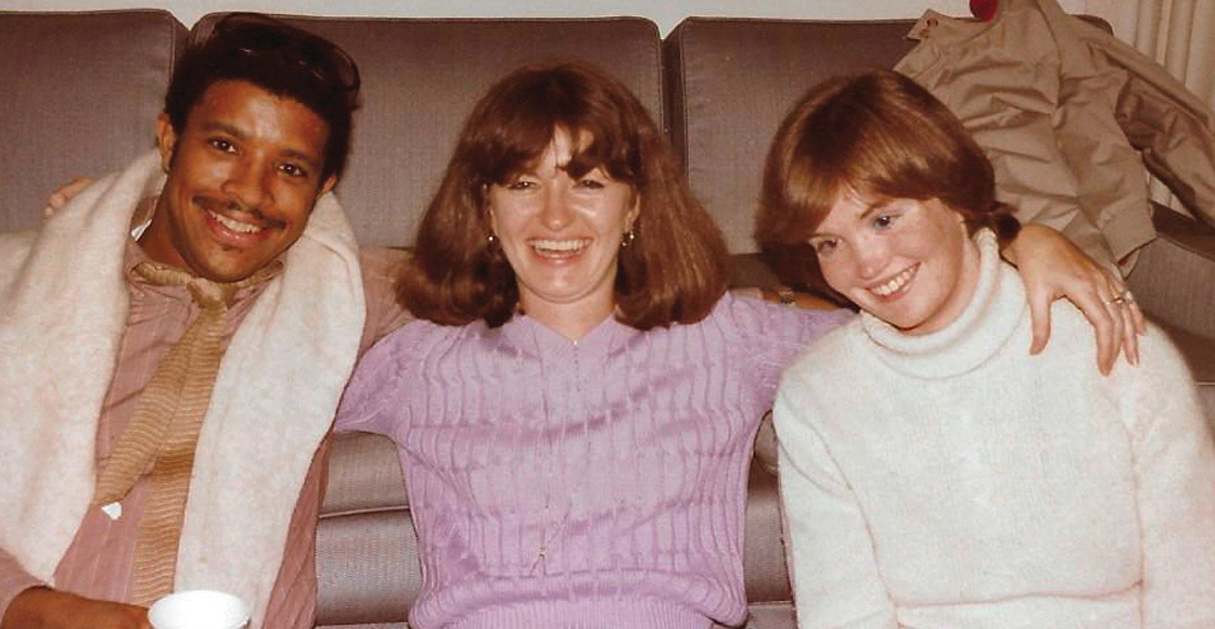 Class of 1986 members David Hicks, Deb Lambert Dean and Mary Beth Sullivan at a party held at Professor Thomas Bergin's house in 1984.