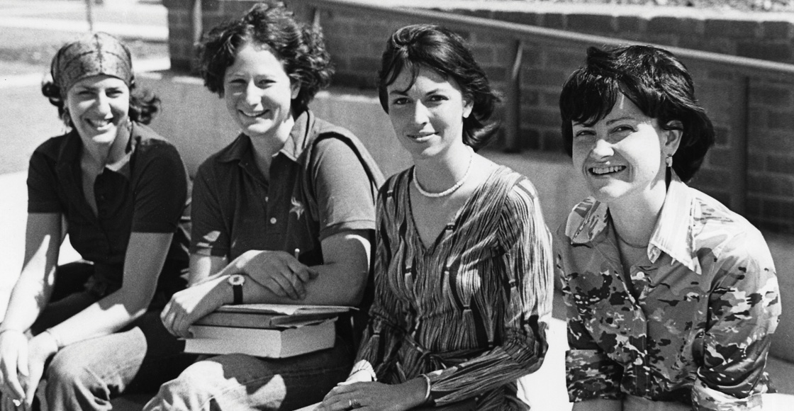 Members of Virginia Law Women in 1977 included Nancy Ehrenreich '79, Steph Ridder '77, Gloria Cordes Larson '77 and Cathy Garcia-Patterson '78.