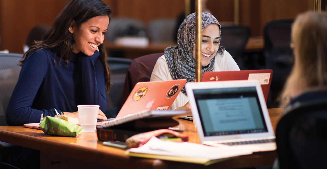 Students study in the Arthur J. Morris Law Library in 2018.