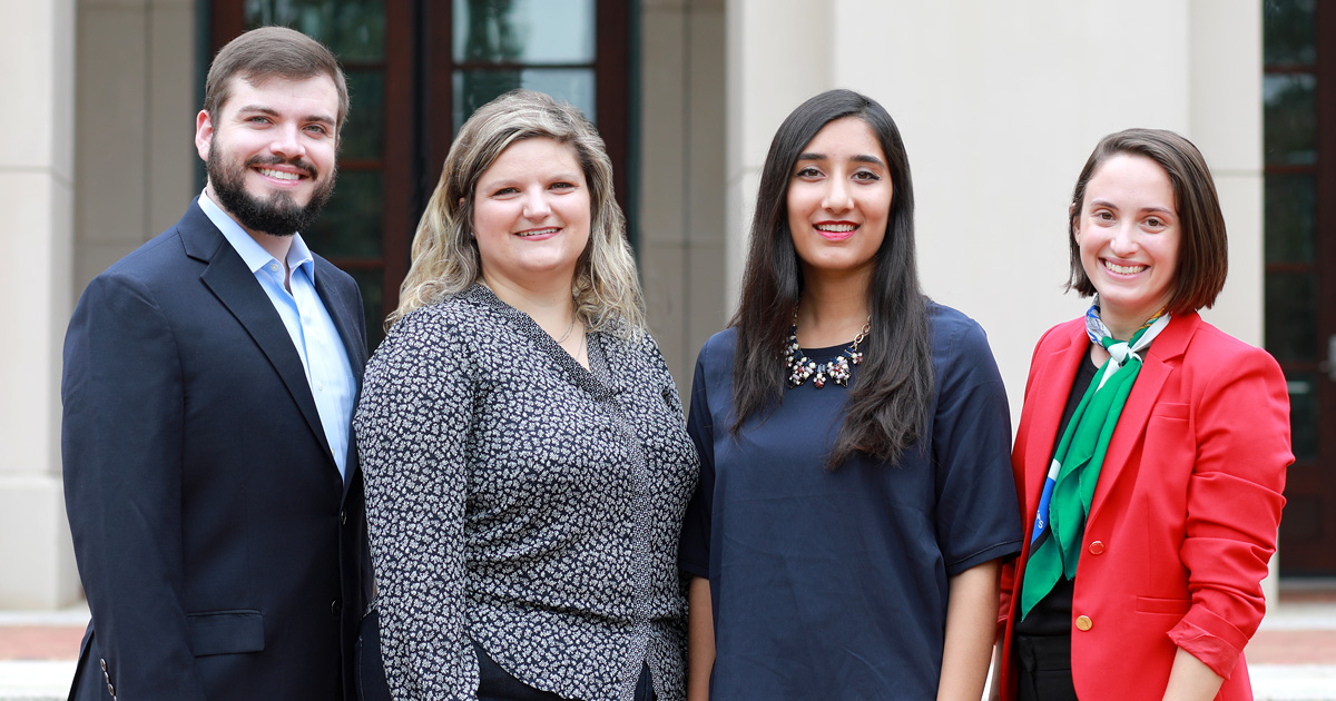 Molly Cain '20, Manal Cheema '20, Eleanora Kaloyeropoulou '20 and Read Mills '20 were named 2019-2020 Ritter Scholars in August.