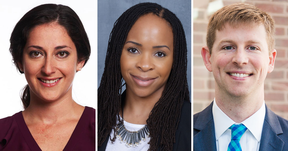 Three alumni — Claire Blumenson '11, Chioma Chukwu '12 and Chris Kavanaugh '06 — were honored for their public service work at the fourth annual Shaping Justice conference in February.