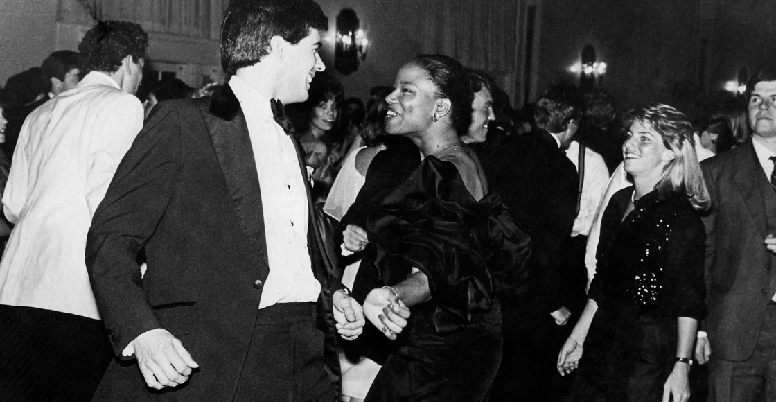 Students dance at Barristers' Ball in Newcomb Hall Ballroom in 1984.