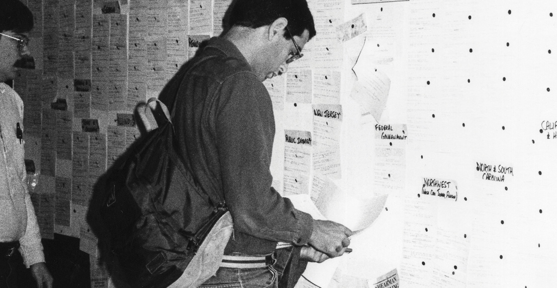A student examines a list of possible job opportunities with the federal government in 1985.