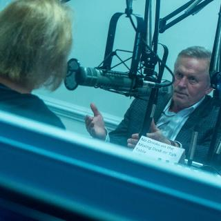 John Grisham and Deirdre Enright in the studio