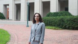 Risa Goluboff outside UVA Law
