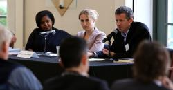 """Panel members and Richard Schragger, right, discuss """"City Power"""""""