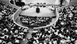 A view of Lile Moot Court, held in Old Cabell Hall