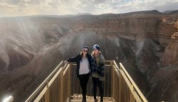 Sarah and Molly Houston hiking in Masada