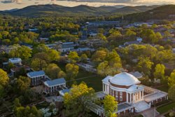 Aerial view of UVA Grounds