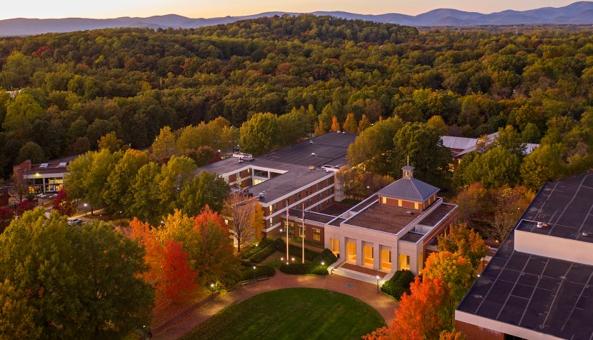 Aerial view of UVA Law School