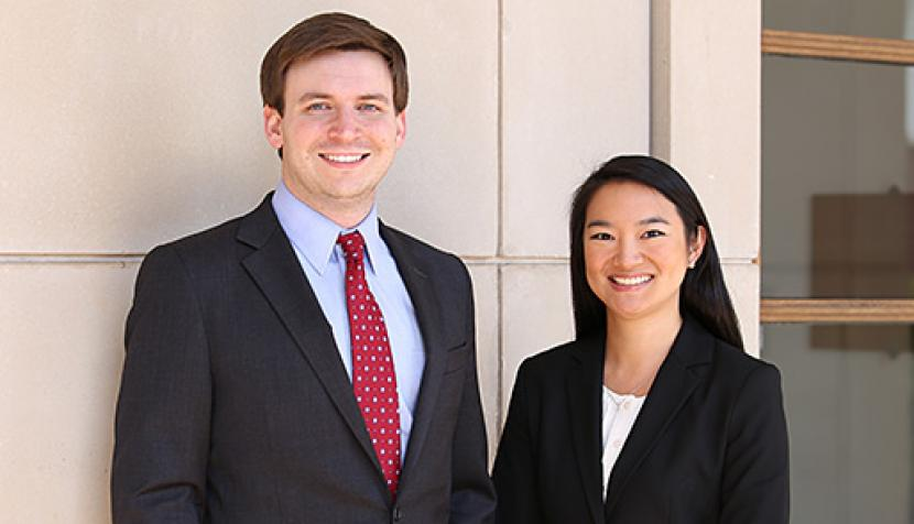 Third-year University of Virginia School of Law students John Gunter and Coreen Mao