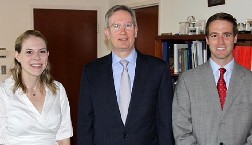 Katherine Mims Crocker and Joseph Benjamin Tyson met with Dean Paul G. Mahoney after receiving their awards.