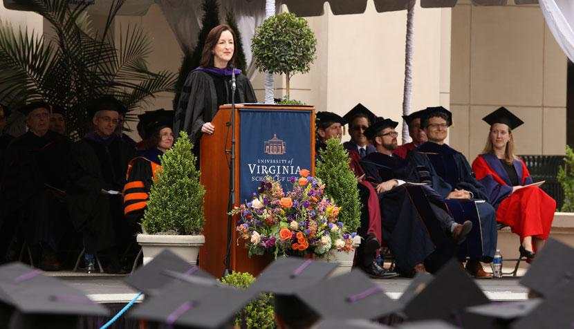 Catherine Keating '87 addresses the crowd