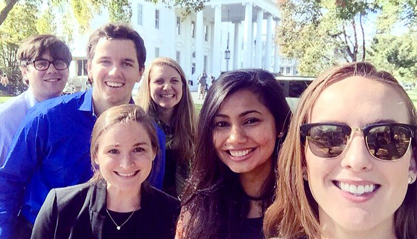 UVA Law students Andrew Manns, Michael Hale, Michele Trichler, Alison Zebrowski, Tuba Ahmed and Danielle Moore