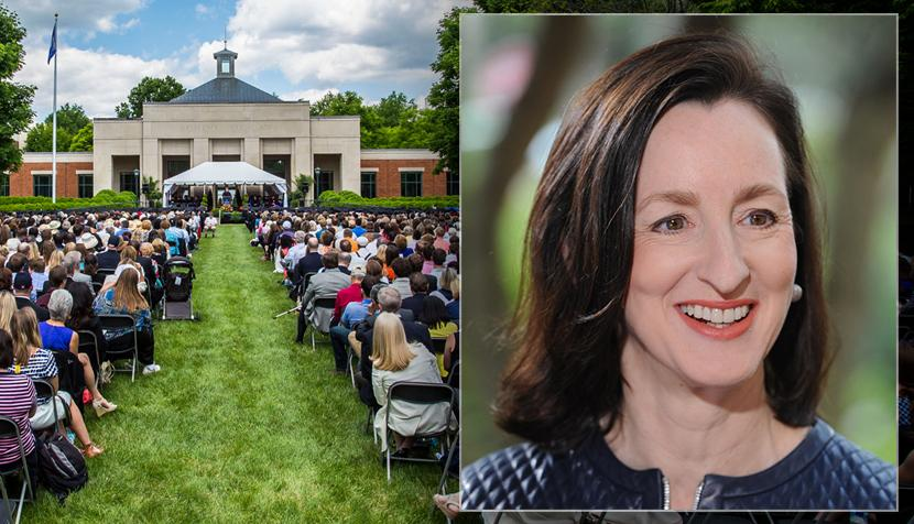 Graduation on UVA Law's Lawn on left and Catherine Keating on right