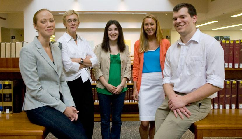 Helen O'Beirne, law professor Anne Coughlin, Ariel Linet, Rebecca Cohn and Kyle Mallinak.