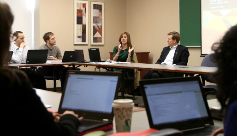 Carine Stoick and Bill Curtin speak to the students in the Role of Counsel class