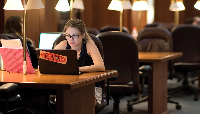 UVA Law student using laptop
