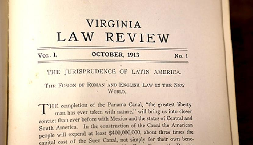 An image of the first article published by the Virginia Law Review