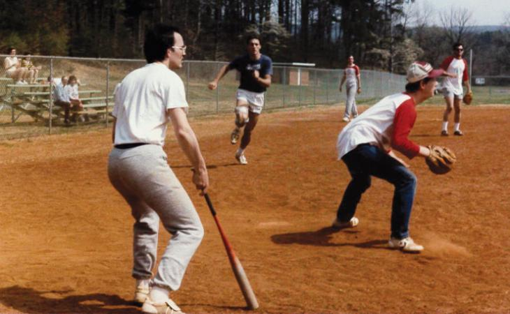 Bob Stewart '85 attempts to steal home.