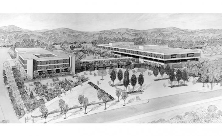 An original plan to join the two buildings (Law and Darden) through a walkway.