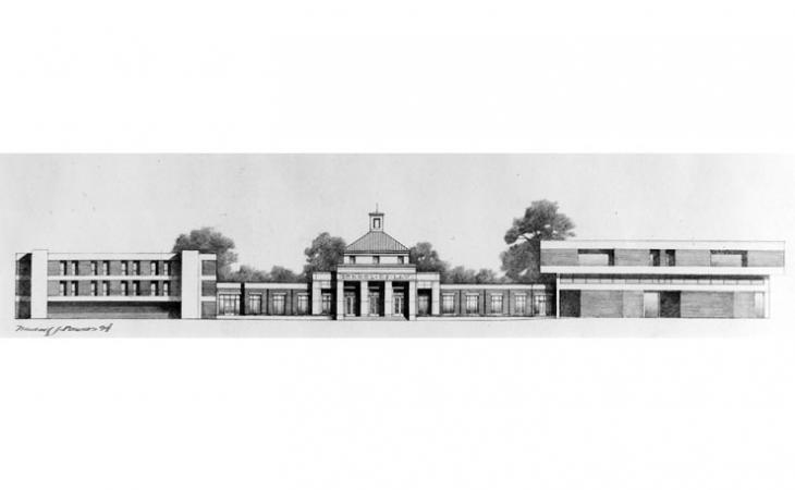 The architects' final rendering of the expanded Law Grounds building