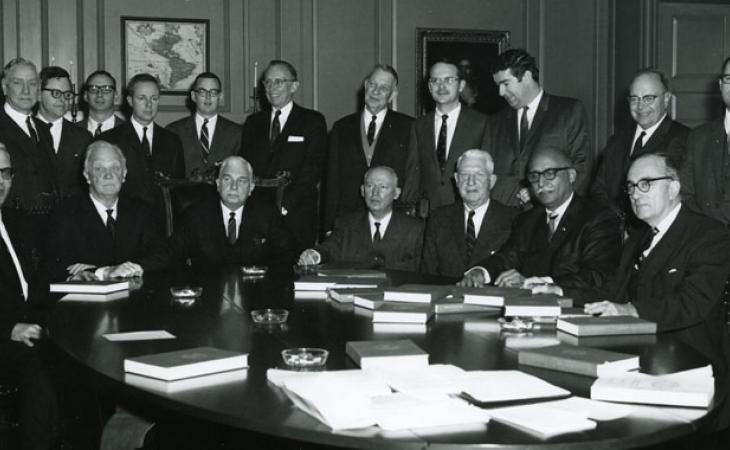Lewis F. Powell Jr. (later to sit on the Supreme Court, sixth from left) and Hardy C. Dillard (dean of the Law School, seventh from left).