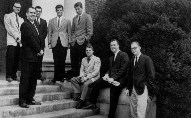 Edward M. Kennedy '59, fourth from left, pictured with the 1959 Law School extramural moot court team